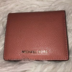 Handbags - NWOT Michael Kors Rose Wallet with Gold Accents